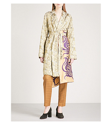DRIES VAN NOTEN Racun scarf-panel jacquard coat (Green
