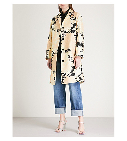 DRIES VAN NOTEN Floral-print satin-twill cocoon coat (Des+a