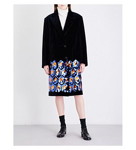 DRIES VAN NOTEN Remigino cotton-velvet coat (Navy