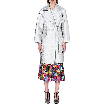 DRIES VAN NOTEN Rhonda textured metallic coat (Silver