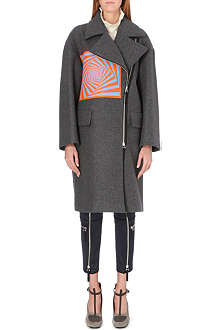 DRIES VAN NOTEN Rhonda geometric-patch wool coat