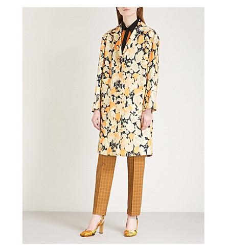 DRIES VAN NOTEN Ricard floral-print jacquard-twill coat (Orange