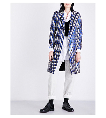 DRIES VAN NOTEN Ricks geometric-jacquard coat (Blue