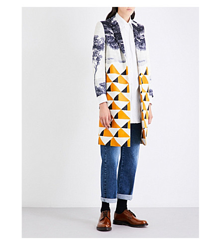 DRIES VAN NOTEN Ricks geo-print cotton-blend coat (Desc