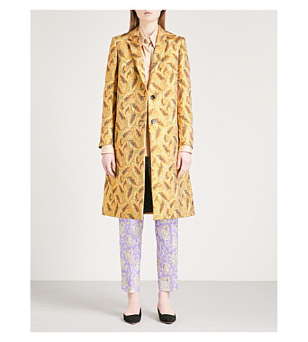 DRIES VAN NOTEN Rick leaf-jacquard coat (Gold