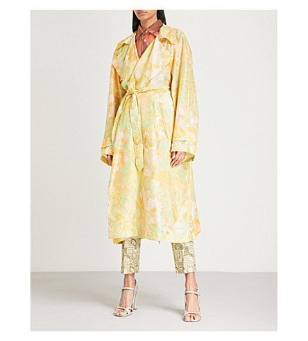 DRIES VAN NOTEN Rigy floral-pattern silk trench coat (Green