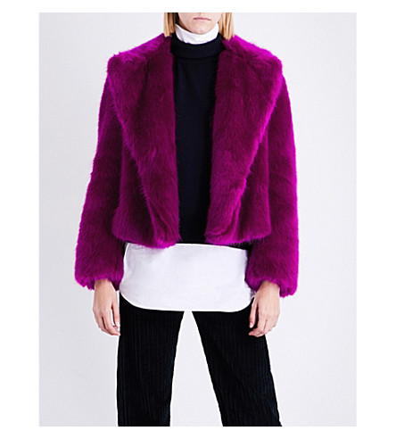 DRIES VAN NOTEN Rimbald faux-fur jacket (Fuchsia
