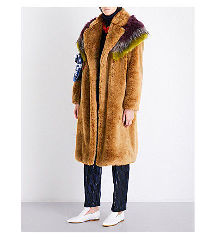 DRIES VAN NOTEN Ritoli oversized faux-fur coat (Camel