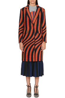 DRIES VAN NOTEN Long stripe-print lapel coat