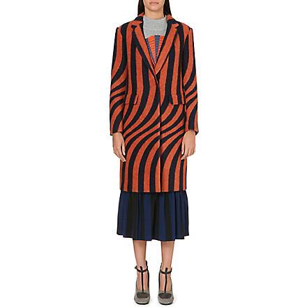 DRIES VAN NOTEN Long stripe-print lapel coat (Orange