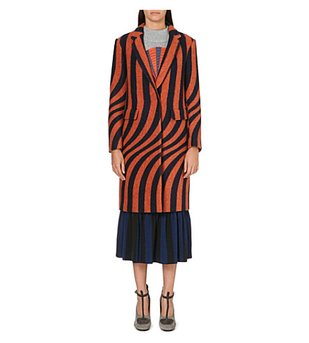 DRIES VAN NOTEN Long stripe-print lapel coat (Orange