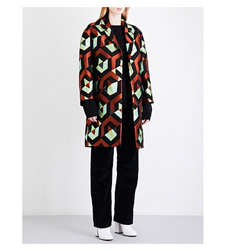 DRIES VAN NOTEN Rodel metallic-jacquard coat (Rust
