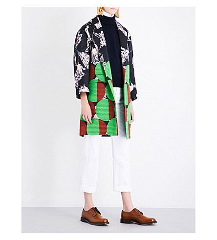DRIES VAN NOTEN Rodel floral and geo-print jacquard coat (Des+b