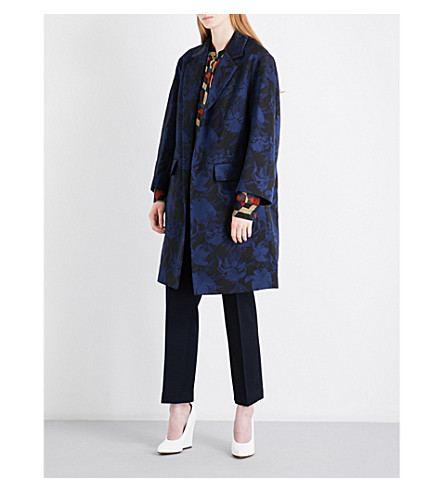 DRIES VAN NOTEN Rodel jacquard coat (Navy