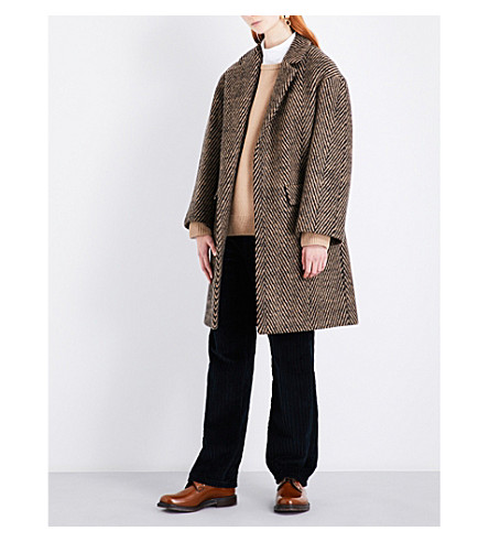 DRIES VAN NOTEN Rodel herringbone-patterned wool coat (Camel