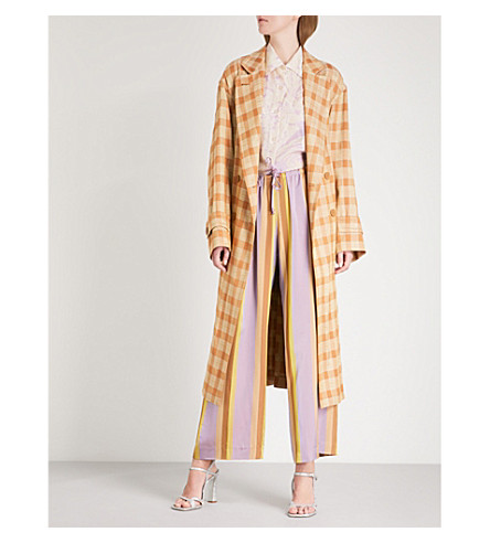 DRIES VAN NOTEN Romila double-breasted twill duster coat (Camel