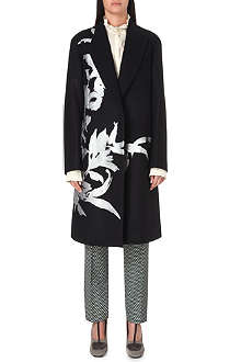 DRIES VAN NOTEN Floral embroidered wool coat