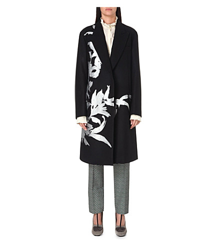 DRIES VAN NOTEN Floral embroidered wool coat (Black