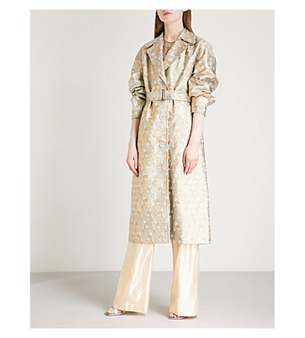 DRIES VAN NOTEN Rubor metallic-jacquard coat (L+blue
