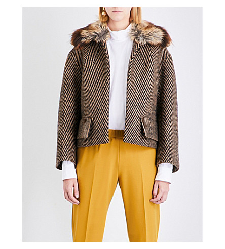 DRIES VAN NOTEN Ruddy cropped wool jacket (Camel