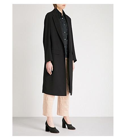 DRIES VAN NOTEN Ryana single-breasted crepe duster coat (Black