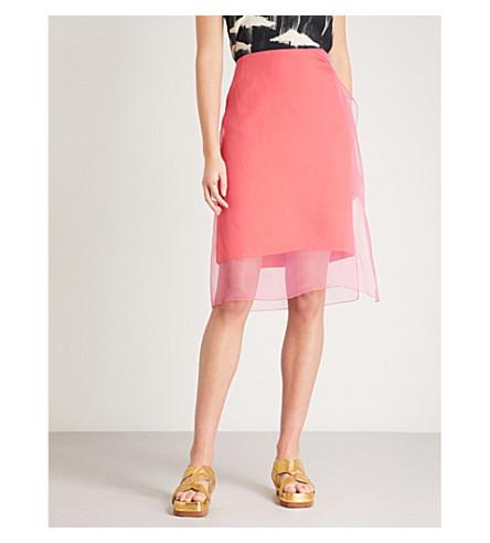 DRIES VAN NOTEN Ruched silk and organza skirt (Fuschia