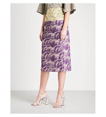 DRIES VAN NOTEN Contrast-panel metallic-jacquard skirt (Purple