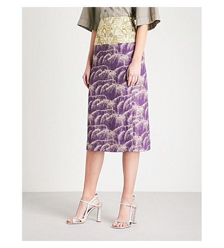 DRIES VAN NOTEN Salvy metallic-jacquard skirt (Purple
