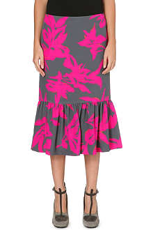 DRIES VAN NOTEN Ruffle trim floral silk skirt