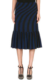 DRIES VAN NOTEN Striped-detail midi skirt