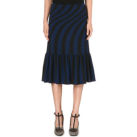 DRIES VAN NOTEN Striped-detail midi skirt (Blue