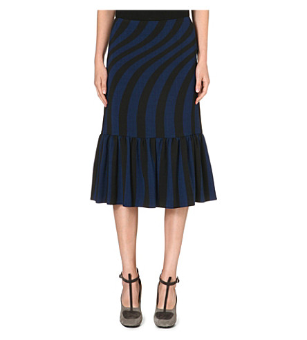 DRIES VAN NOTEN Striped-detail midi skirt (Blue