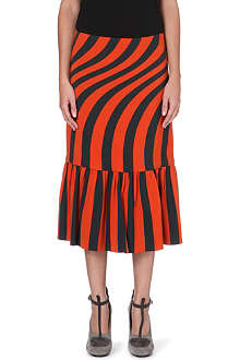 DRIES VAN NOTEN Striped-print gathered skirt