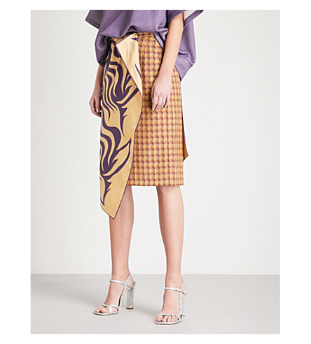 DRIES VAN NOTEN Scarf-overlay pencil skirt (Purple