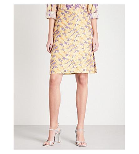 DRIES VAN NOTEN Scola abstract-pattern woven skirt (Purple