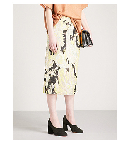 DRIES VAN NOTEN Scola metallic floral jacquard skirt (Black