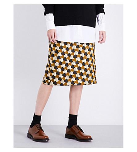 DRIES VAN NOTEN Scanton sequin-embellished jacquard skirt (Yellow