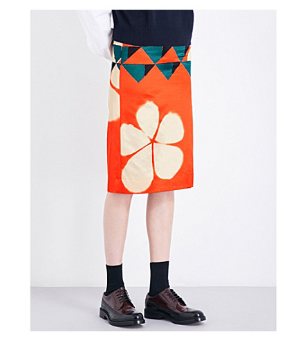 DRIES VAN NOTEN Scranton geo-print crepe pencil skirt (Desa