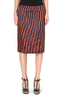 DRIES VAN NOTEN Striped-detail A-line skirt