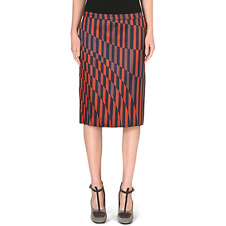 DRIES VAN NOTEN Striped-detail A-line skirt (Orange