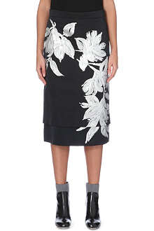 DRIES VAN NOTEN Serepta metallic-floral satin skirt