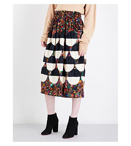 DRIES VAN NOTEN Shenslong high-rise velvet skirt (Des+b