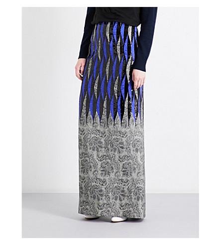 DRIES VAN NOTEN Shinelong high-rise jacquard and sequin skirt (Des+c