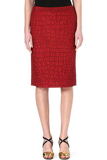 DRIES VAN NOTEN Croc-embroidered pencil skirt