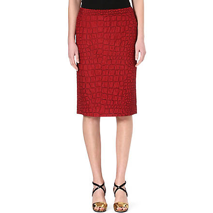 DRIES VAN NOTEN Croc-embroidered pencil skirt (Red