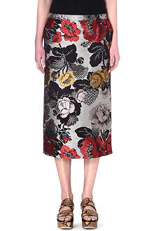 DRIES VAN NOTEN Floral midi skirt