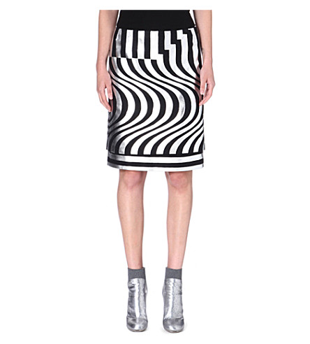 DRIES VAN NOTEN Silvia geometric-print skirt (Silver