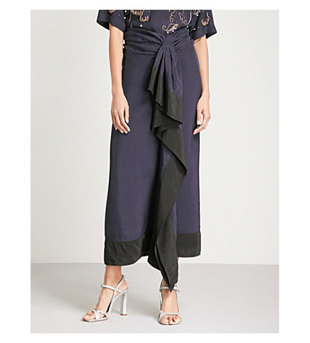 DRIES VAN NOTEN Sindra ruffled crepe midi skirt (Navy