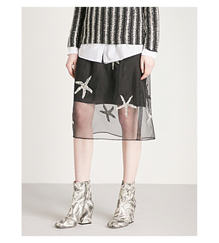 DRIES VAN NOTEN Sequinned silk and organza skirt (Black