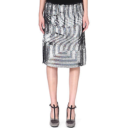 DRIES VAN NOTEN Sisika sequinned silk skirt (Black